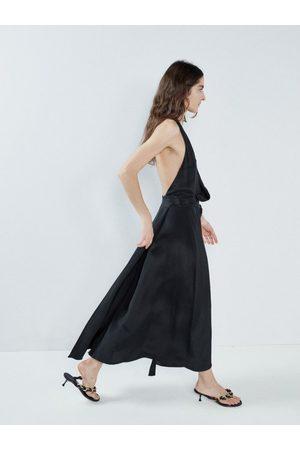 Raey Women Halterneck Dresses - Halterneck Draped-front Wraparound Silk Dress - Womens