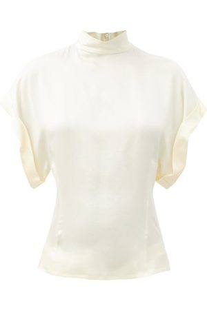 Raey High-neck Fold-sleeve Silk-satin Top - Womens - Ivory