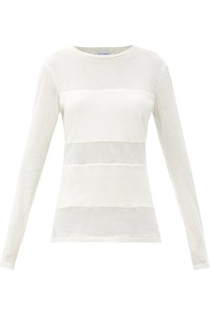 Raey Women Long Sleeve - Double-panel Cotton-blend Long-sleeved T-shirt - Womens - Ivory