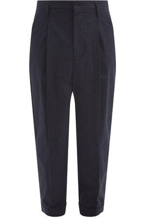 Raey Exaggerated Tapered-leg Cotton Trousers - Mens - Navy