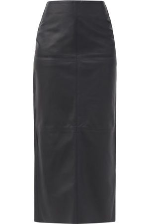Raey Women Leather Skirts - High-rise Leather Maxi Skirt - Womens - Navy