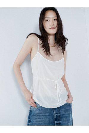 Raey Women Singlets - Tie-waist Silk Crepe De Chine Cami Top - Womens - Ivory