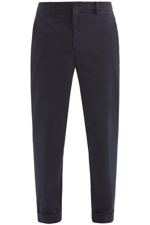 Raey Tapered-leg Cotton Trousers - Mens - Navy