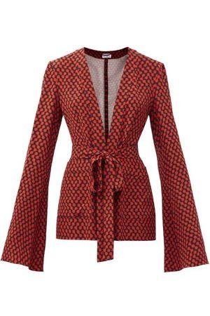 Raey Women Pyjamas - Bell-sleeve Belted Polka-dot Silk Pyjama Jacket - Womens - Print