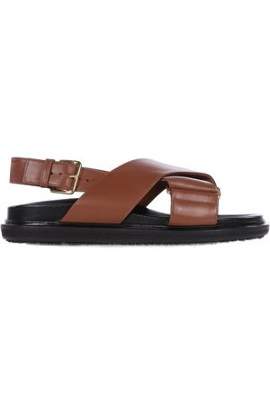 Marni Women Sandals - Fussbett Smooth Leather Sandals - Womens - Tan