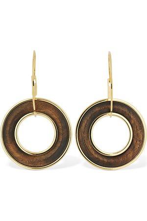 Jil Sander Eclipse Double Hoop Earrings W/ Wood