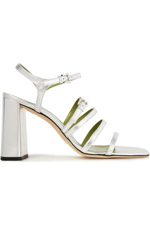 By Far Woman Goldie Buckled Metallic Leather Sandals Size 35
