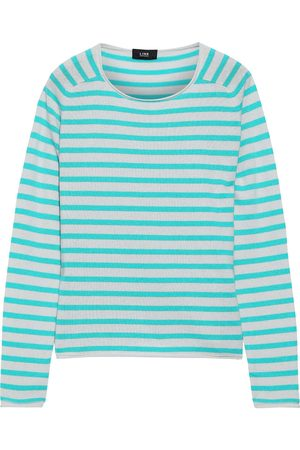 Line Woman Jackie Striped Cashmere Sweater Turquoise Size XS