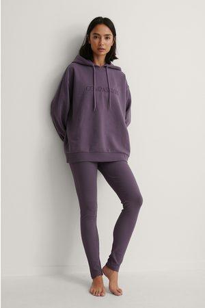 NA-KD Embroidery Detail Rib Leggings - Purple