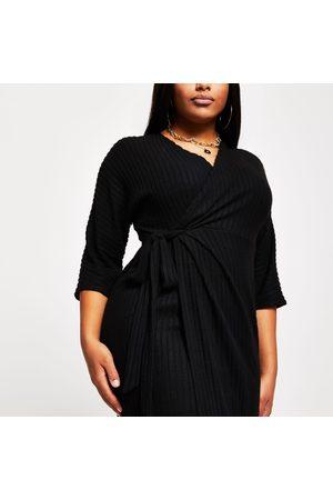 River Island Womens Plus wrap tie waist midi dress