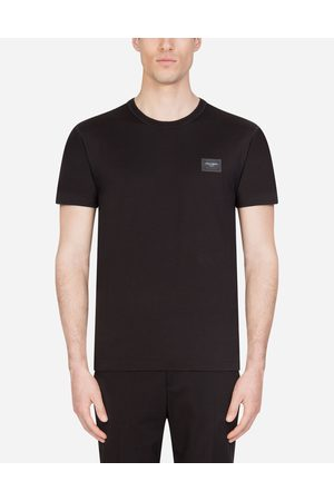 Dolce & Gabbana T-Shirts and Polos - COTTON T-SHIRT WITH BRANDED PLATE male 44