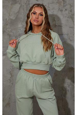 PRETTYLITTLETHING Women Sweatshirts - Sage Pocket Front Cropped Hoodie