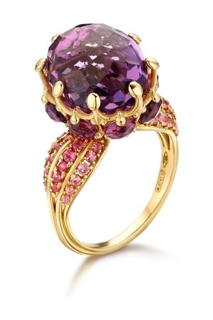 Mozafarian Women Rings - Sapphire And Amethyst Ring