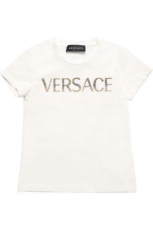 VERSACE Embellished Logo Cotton Jersey T-shirt