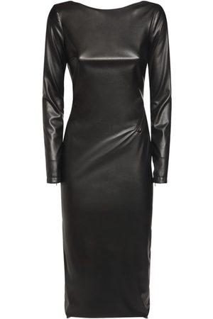 Tom Ford Faux Leather Stretch Midi Dress