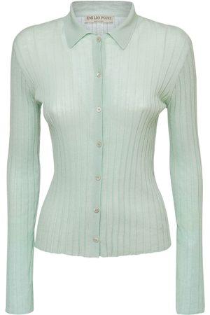 Emilio Pucci Women Polo Shirts - Cotton Knit Rib Polo Cardigan