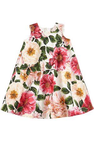 Dolce & Gabbana Girls Printed Dresses - Floral Print Cotton Interlock Dress