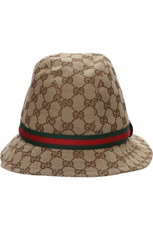Gucci Girls Hats - Gg Supreme Logo Blend Cotton Bucket Hat
