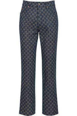 Gucci Gg Jacquard Denim Jeans W/ Leather Dtl