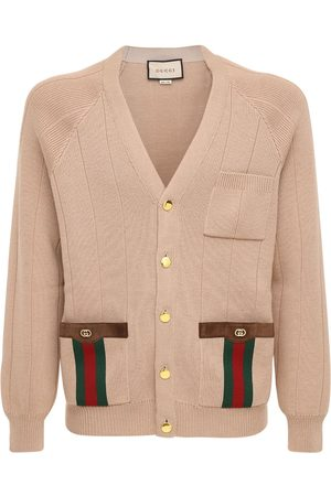 Gucci Wool Blend Knit Cardigan W/ Logo Web