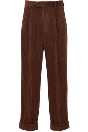 Gucci Leather Patch Corduroy Pants
