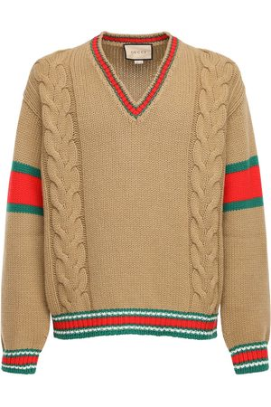 Gucci Cable Knit Wool V-neck Sweater