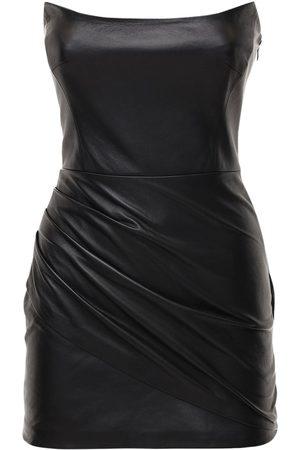 Zeynep Arcay Strapless Leather Mini Dress