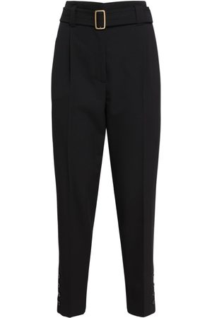 Max Mara High Waist Wool Gabardine Belted Pants