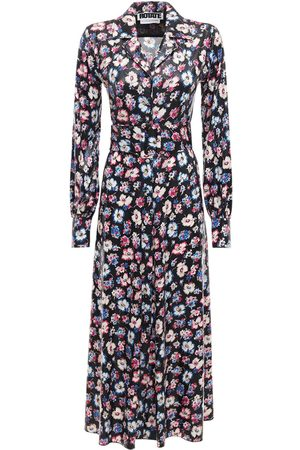 ROTATE Jojo Floral Print Midi Shirt Dress