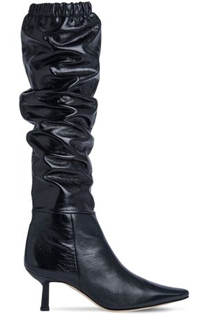 By Far 65mm Gwen Creased Leather Tall Boots