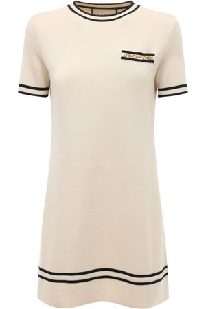 Gucci Wool Jacquard Knit Crewneck Mini Dress