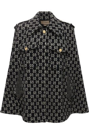 Gucci Logo Felted Wool Jacquard Cape