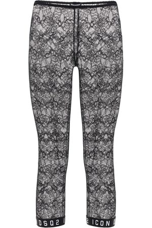 Dsquared2 Print Logo Lace Crop Leggings