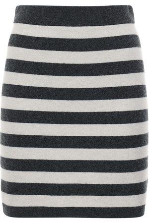 Kenzo Women Mini Skirts - Striped Wool Blend Knit Mini Skirt