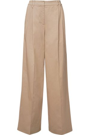 Agnona Women Trousers - High Waist Stretch Cotton Pants
