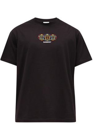 Burberry Men Short Sleeve - Tunbury Globe-embroidered Cotton T-shirt - Mens