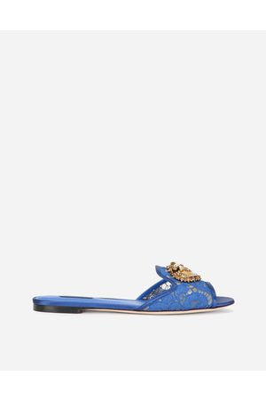 Dolce & Gabbana Women Sandals - Slides and Mules - TAORMINA LACE SLIDERS WITH DEVOTION HEART female 35