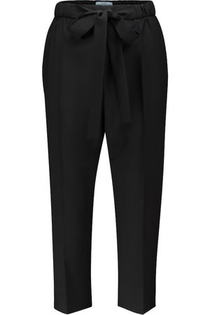 Prada High-rise cropped slim wool pants