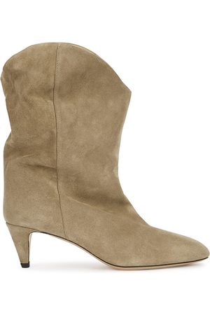 Isabel Marant Women Ankle Boots - Dernee 65 Taupe Suede Ankle Boots