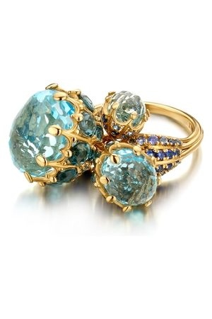 Mozafarian Women Rings - Sapphire And Topaz Ring