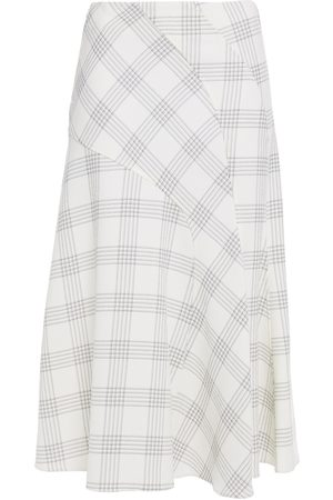 CÉDRIC CHARLIER Woman Checked Wool-blend Crepe Skirt Ivory Size 40