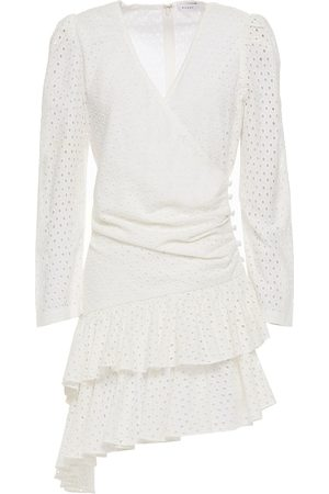Rhode Woman Lola Asymmetric Broderie Anglaise Cotton Mini Dress Ivory Size L