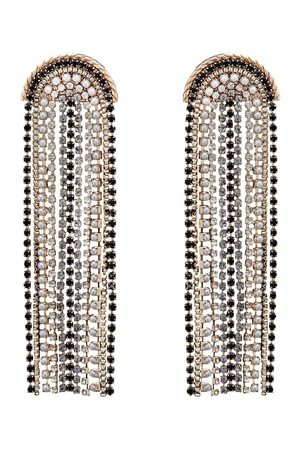 Moodstreet Gold Plated Multi Jet And Grey Diamante Chandelier Earring