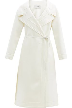 Valentino Women Summer Jackets - Double-breasted Belted Wool-blend Coat - Womens - Ivory