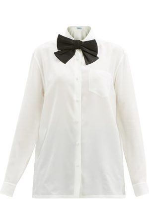 Prada Bow-trim Silk-satin Blouse - Womens - Ivory