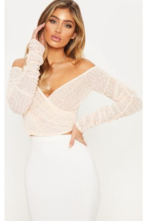 PRETTYLITTLETHING Nude Dobby Mesh Sheer Ruched Sleeve Bardot Crop Top