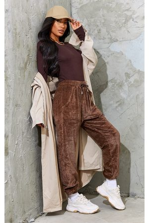 PRETTYLITTLETHING Chocolate Velour Pocket Casual Joggers