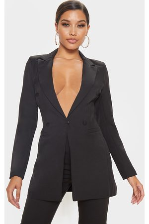 PRETTYLITTLETHING Double Breasted Woven Blazer
