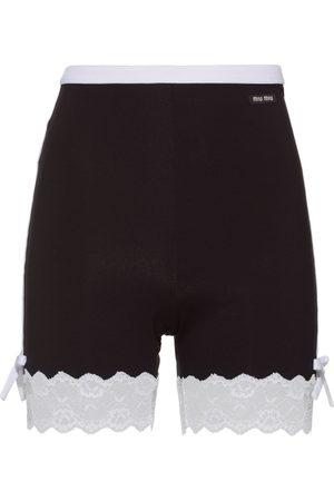 Miu Miu Lace trim biker shorts