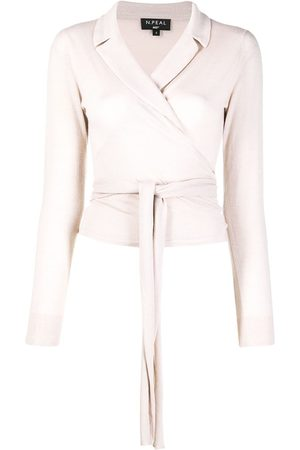 N.Peal Wrap-style cashmere top - Neutrals